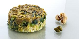 arroz con espinacas y pistachos